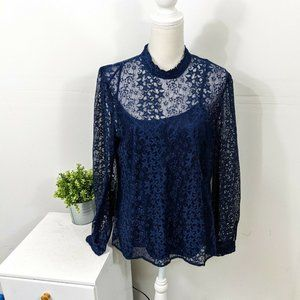 MODCLOTH Winsome Whims Blue Star Lace Blouse 1X